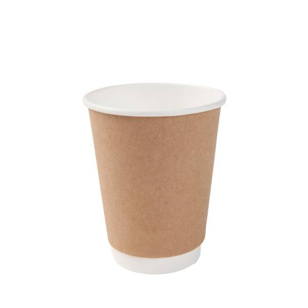 Vaso de cartón bio marrón doble capa, 300ml/12oz (500 uds.)